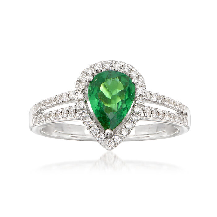 .90 Carat Pear-Shaped Tsavorite and .30 ct. t.w. Diamond Halo Ring in 14kt White Gold, , default