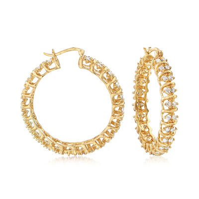 3.00 ct. t.w. Spiral Hoop Earrings in 18kt Gold Over Sterling, , default