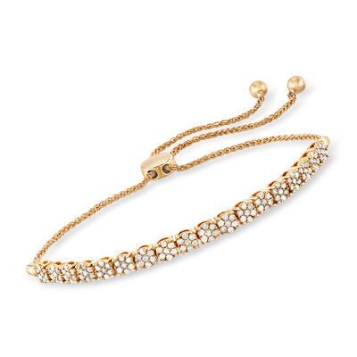 1.00 ct. t.w. Diamond Cluster Bolo Bracelet in 14kt Yellow Gold