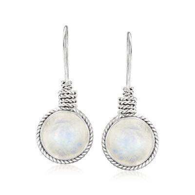 Moonstone Drop Earrings in Sterling Silver