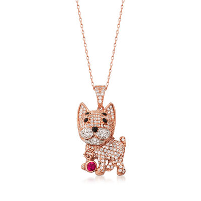1.20 ct. t.w. CZ and .10 Carat Simulated Ruby Dog Pendant Necklace in 18kt Rose Gold Over Sterling Silver