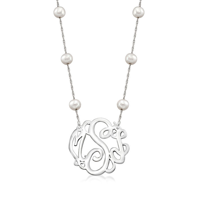 5-6mm Cultured Pearl Monogram Necklace in Sterling Silver