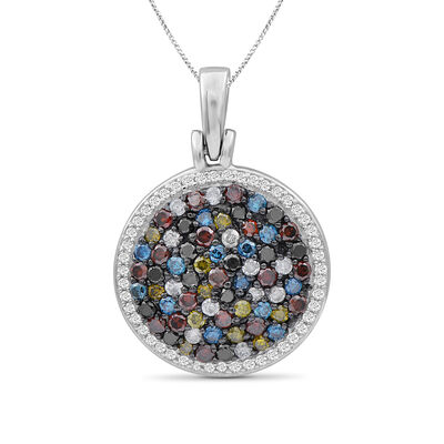 1.07 ct. t.w. Multicolored Diamond Pendant Necklace in Sterling Silver, , default