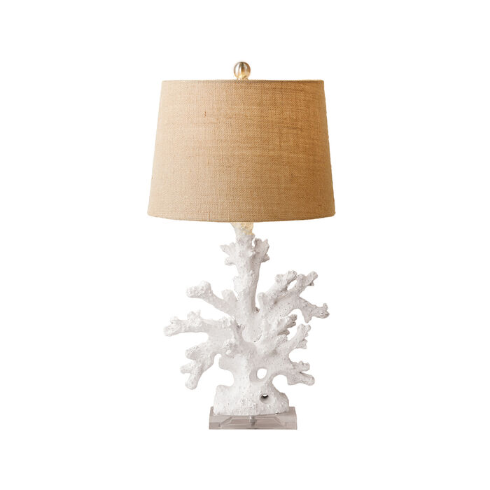 White Coral Table Lamp with Burlap Shade and Acrylic Base, , default