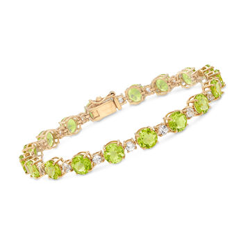 "14.00 ct. t.w. Peridot and 1.80 ct. t.w. White Topaz Tennis Bracelet in 18kt Gold Over Sterling. 7"", , default"