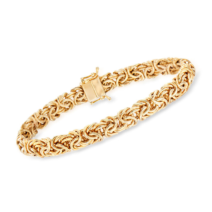 18kt Yellow Gold Over Sterling Silver Byzantine Bracelet with Magnetic Clasp, , default