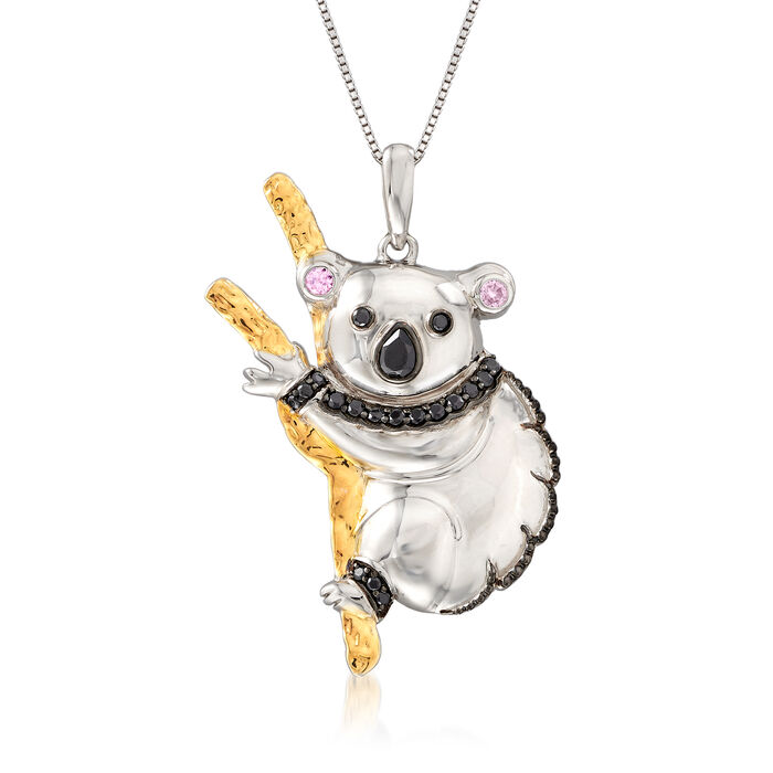 .50 ct. t.w. Black Spinel and .20 ct. t.w. Pink Sapphire Koala Pendant Necklace in Two-Tone Sterling Silver