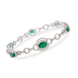 "4.70 ct. t.w. Emerald and 2.70 ct. t.w. Diamond Bracelet in 18kt White Gold. 7.75"", , default"