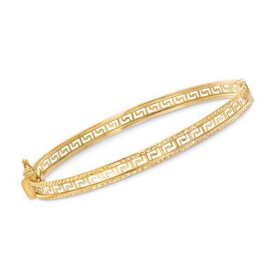 14kt Yellow Gold Greek Key Bangle Bracelet    , , default