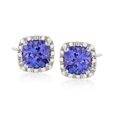 1.30 ct. t.w. Tanzanite and .12 ct. t.w. Diamond Earrings in 14kt White Gold, , default