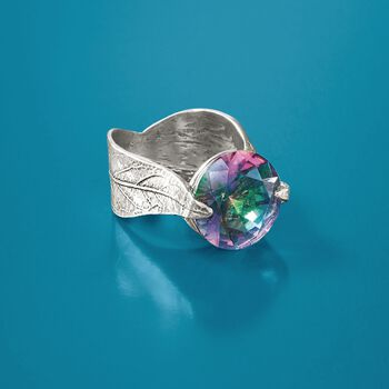 14mm Simulated Multicolored Quartz Leaf Ring in Sterling Silver
