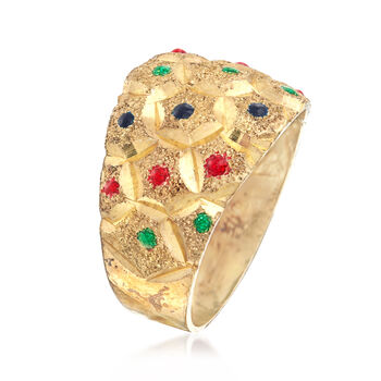 C. 1970 Vintage Honeycomb Styled Ring with Multicolored Enamel in 14kt Yellow Gold. Size 7, , default