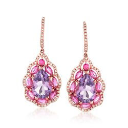 6.90 ct. t.w. Amethyst and Pink Sapphire Drop Earrings in 14kt Rose Gold With Diamonds, , default