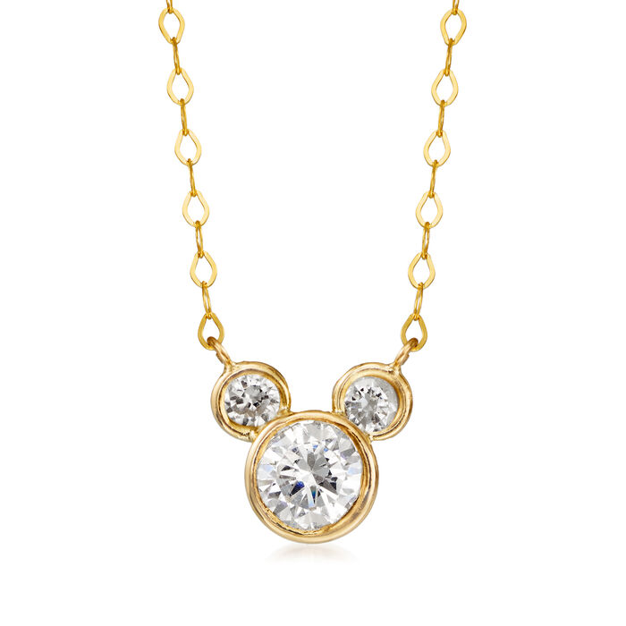 """Child's Disney .80 ct. t.w. CZ Mickey Mouse Necklace in 14kt Yellow Gold. 13"""""""