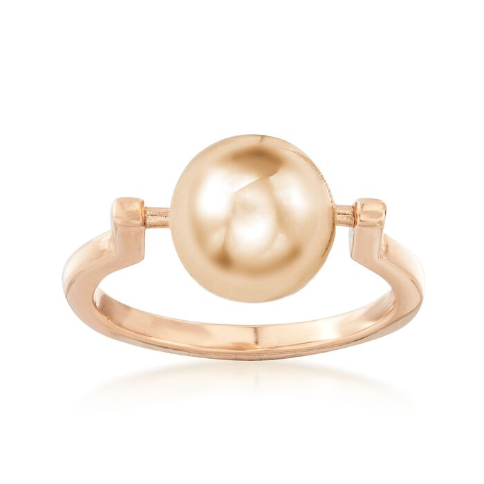 Italian 10mm 18kt Rose Gold Over Sterling Silver Spinable Bead Ring, , default