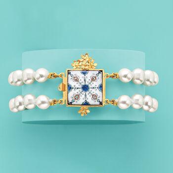 Italian 8mm Cultured Pearl Majolica Tile Bracelet in 18kt Gold Over Sterling, , default