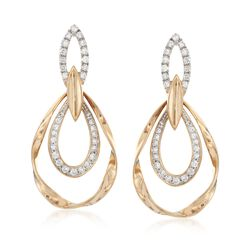 .65 ct. t.w. Diamond Twisted Open Teardrop Earrings in 14kt Yellow Gold, , default