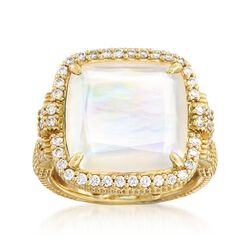 """Judith Ripka """"Arianna"""" Mother-Of-Pearl Doublet Ring With .64 ct. t.w. Diamonds in 18kt Gold, , default"""