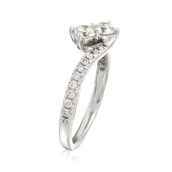 C. 1990 Vintage .90 ct. t.w. Diamond Bypass Ring in 14kt White Gold. Size 7.5, , default