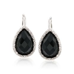 Black Onyx and .11 ct. t.w. Diamond Drop Earrings in Sterling Silver , , default