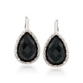 Black Onyx and .11 ct. t.w. Diamond Drop Earrings in Sterling Silver , , default