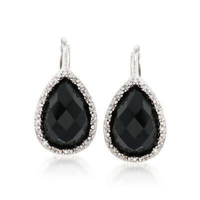 Black Onyx and .11 ct. t.w. Diamond Drop Earrings in Sterling Silver, , default