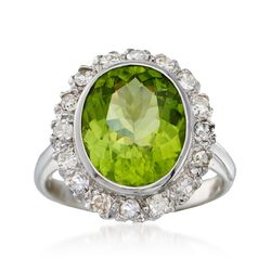 C. 1950 Vintage 4.97 Carat Peridot and .50 ct. t.w. Diamond Ring in 14kt White Gold. Size 6.75, , default