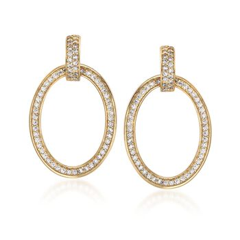 .70 ct. t.w. CZ Oval Doorknocker Earrings in 18kt Gold Over Sterling, , default