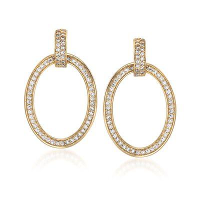 .70 ct. t.w. CZ Oval Doorknocker Earrings in 18kt Gold Over Sterling, , default