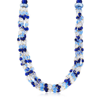 Italian Multicolored Murano Bead Six-Strand Necklace in Sterling Silver, , default