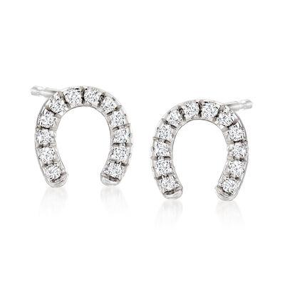 .10 ct. t.w. Diamond Horseshoe Stud Earrings in Sterling Silver