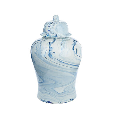 Terre Melee Blue Tapered Ceramic Temple Jar, , default