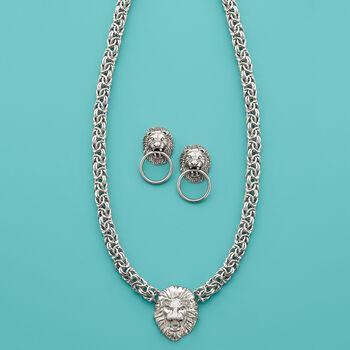 Italian Sterling Silver Lion Head Doorknocker Earrings, , default