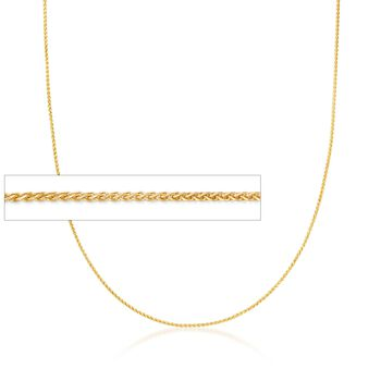 .6mm 14kt Yellow Gold Wheat Chain Necklace, , default