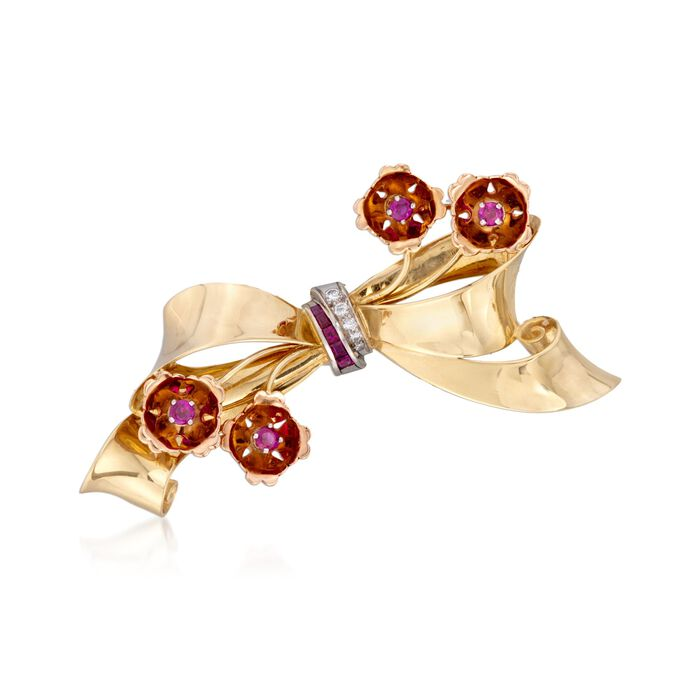 C. 1940 Vintage Tiffany Jewelry 1.10 ct. t.w. Ruby and Diamond Bow Pin in 14kt Two-Tone Gold