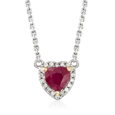 .40 Carat Ruby and Diamond-Accented Heart Pendant Necklace in 14kt Two-Tone Gold, , default