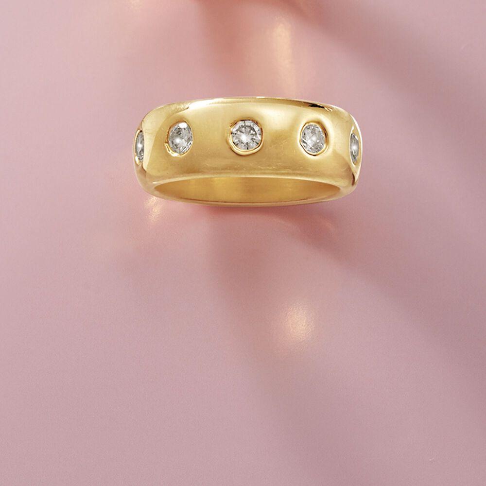 Italian Andiamo 14kt Yellow Gold and 1.00 ct. t.w. CZ Eternity Ring ...