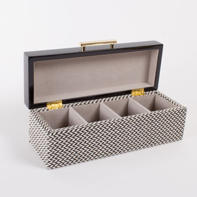 Black and White Lacquered Chevron Jewelry Box, , default