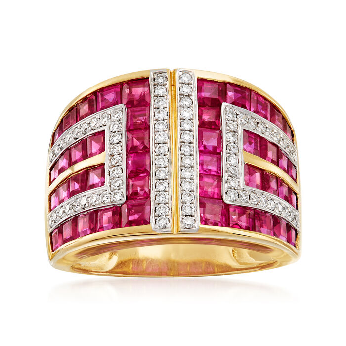 4.50 ct. t.w. Ruby and .37 ct. t.w. Diamond Geometric Ring in 18kt Yellow Gold