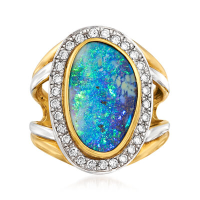 C. 1980 Vintage Black Opal and .37 ct. t.w. Diamond Ring in Platinum and 18kt Yellow Gold, , default