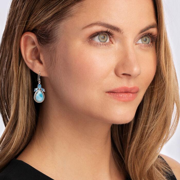 Larimar and 2.10 ct. t.w. Swiss Blue Topaz Earrings in Sterling Silver