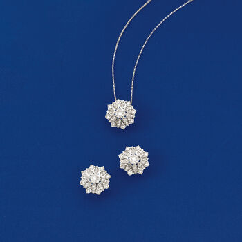 1.00 ct. t.w. Diamond Floral Earrings in Platinum., , default