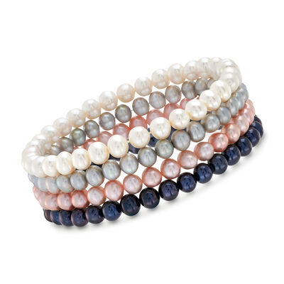 5-6mm Multicolored Cultured Pearl Jewelry Set: Four Stretch Bracelets