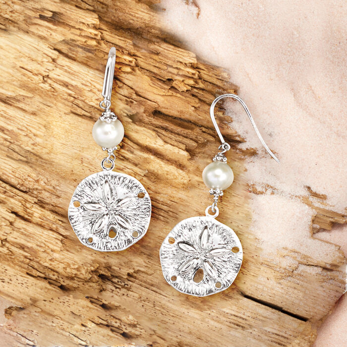 6.5-7.5mm Cultured Pearl and Sterling Silver Sand Dollar Drop Earrings