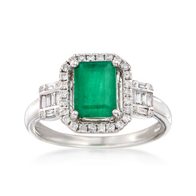 1.60 Carat Emerald and .31 ct. t.w. Diamond Ring in 14kt White Gold, , default
