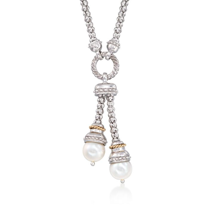 """Phillip Gavriel """"Popcorn"""" 9-9.5mm Cultured Pearl Lariat Necklace in Sterling Silver and 14kt Gold"""