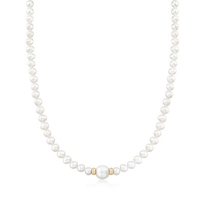 5-6mm and 11-12mm Cultured Pearl Necklace With 14kt Yellow Gold, , default