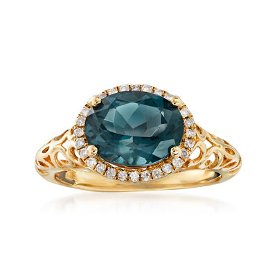 3.00 Carat London Blue Topaz and .10 ct. t.w. Diamond Ring in 14kt Yellow Gold, , default