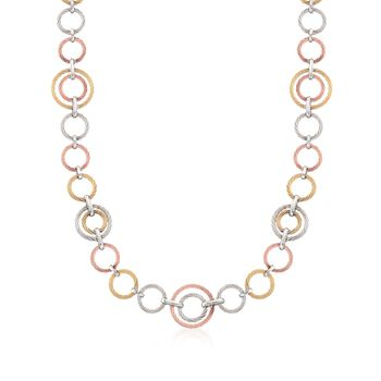 """ALOR """"Noir"""" Tri-Colored Cable-Link Necklace With 18kt Yellow Gold. 36"""", , default"""