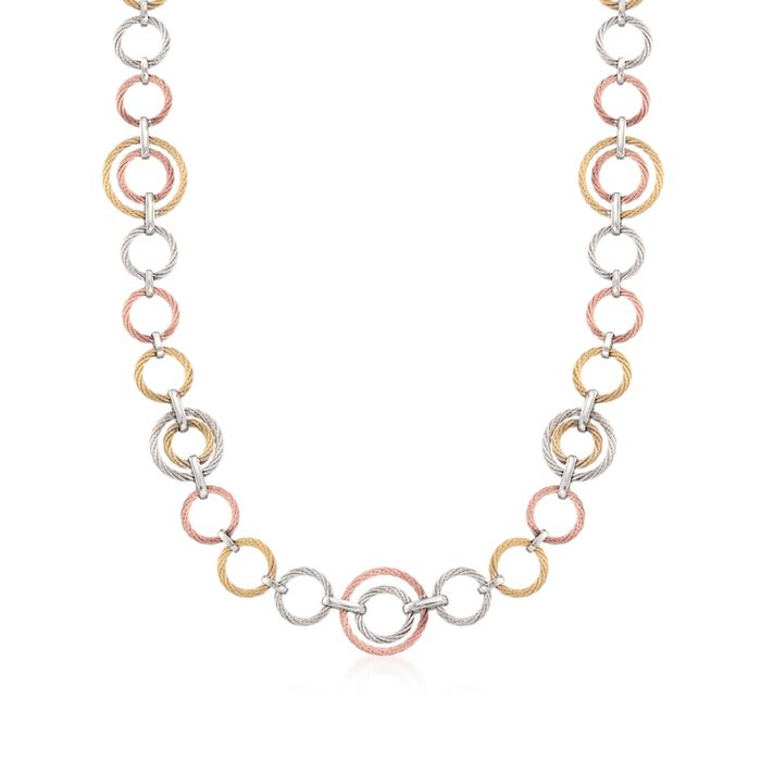 "ALOR ""Noir"" Tri-Colored Cable-Link Necklace with 18kt Yellow Gold. 36"", , default"